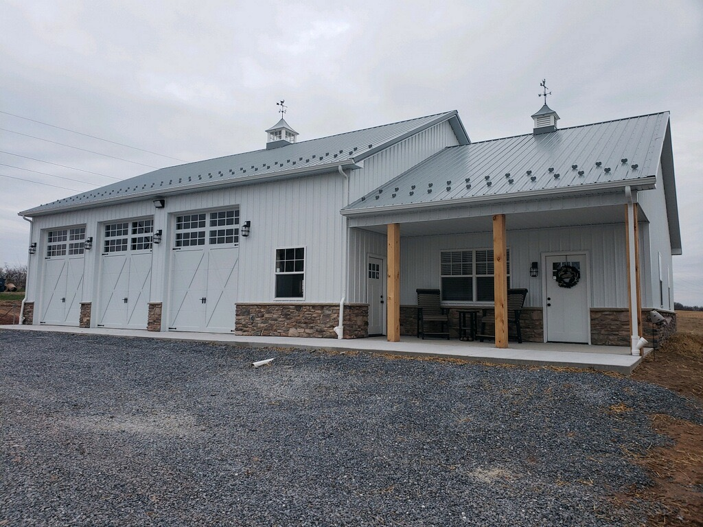 three car pole barn garage with attached home addition