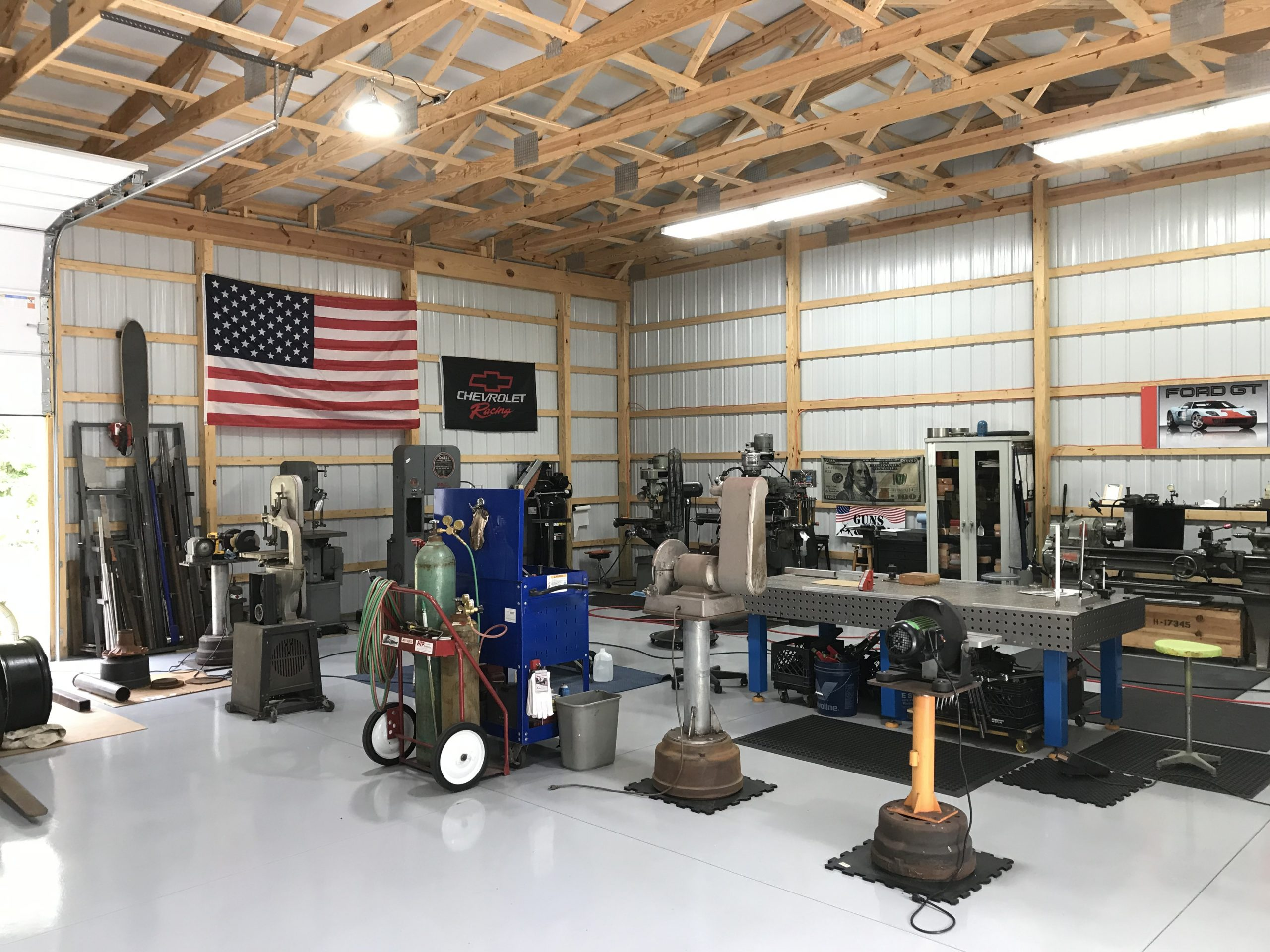 industrial equipment in new pole building