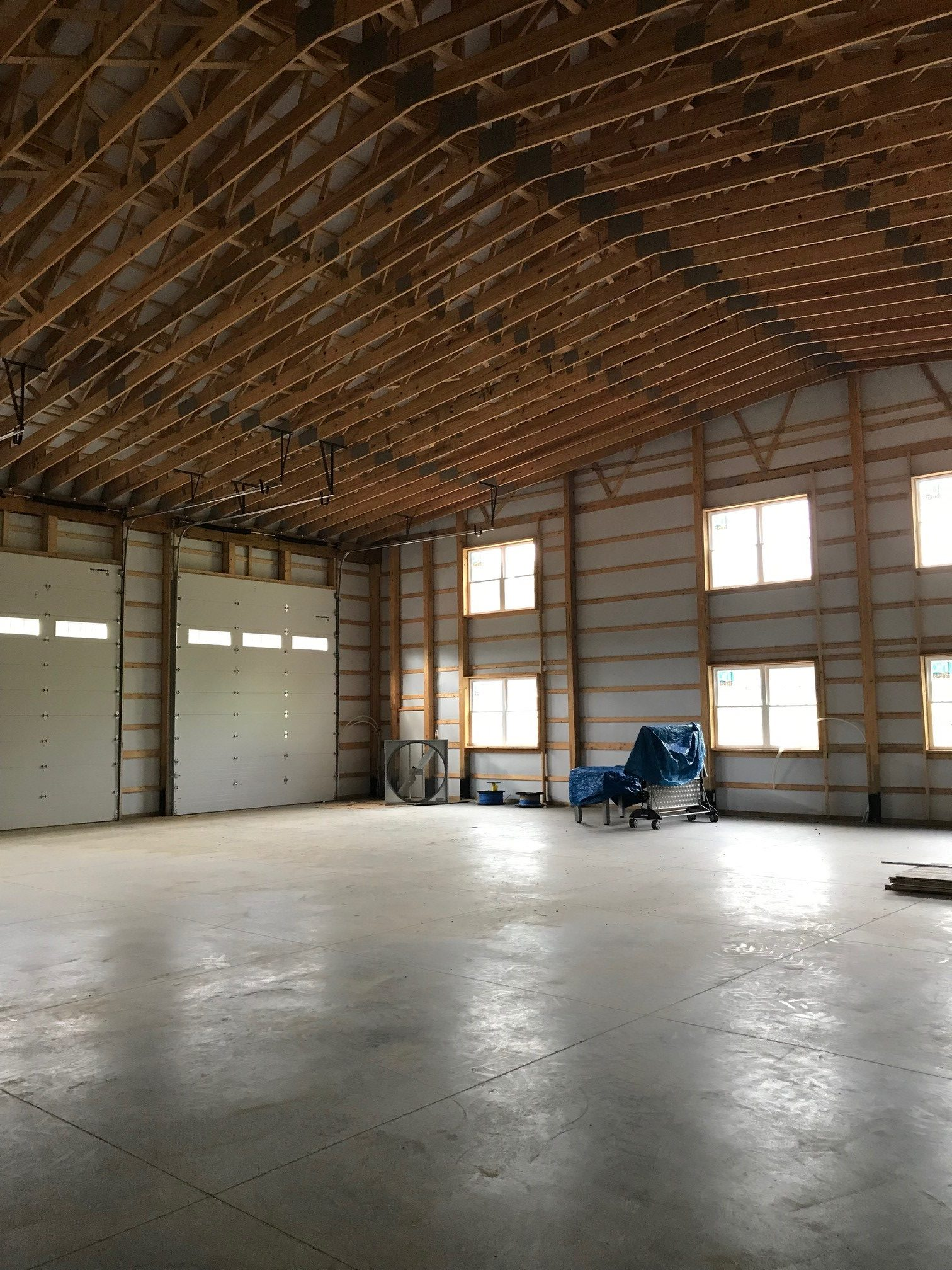 interior of newly constructed pole barn garage