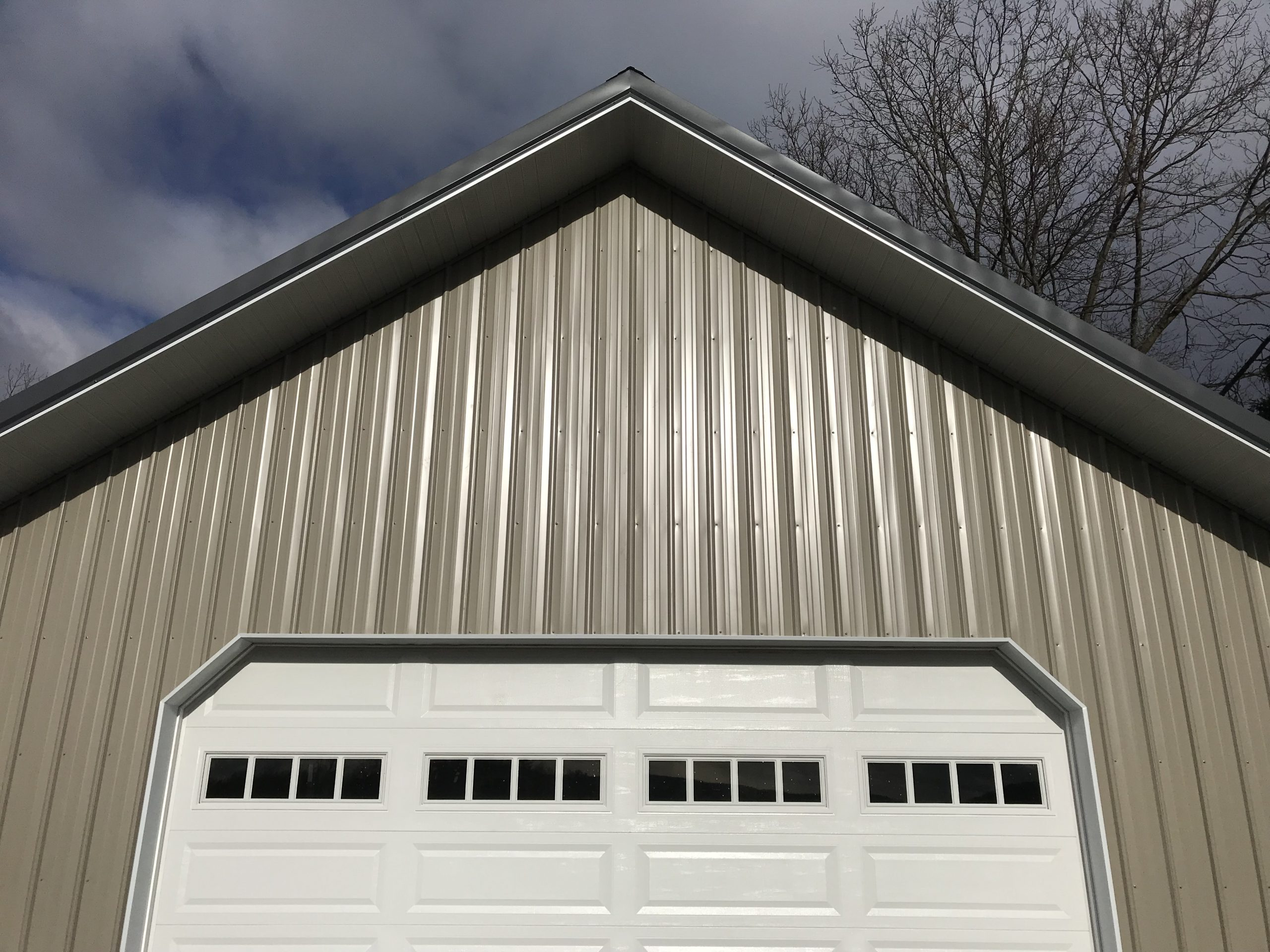 new metal gable on commercial pole building
