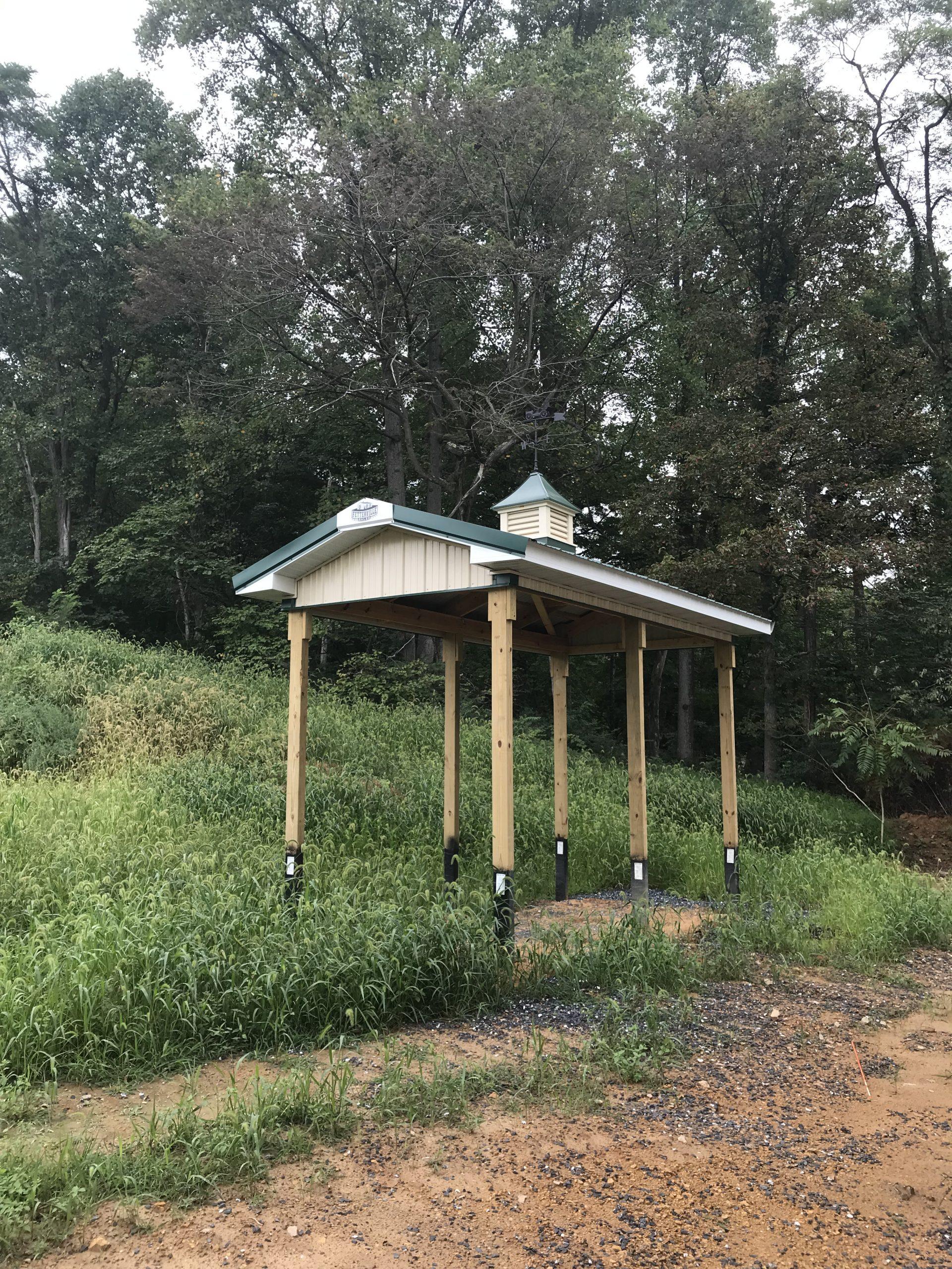 new metal overhang and cupola