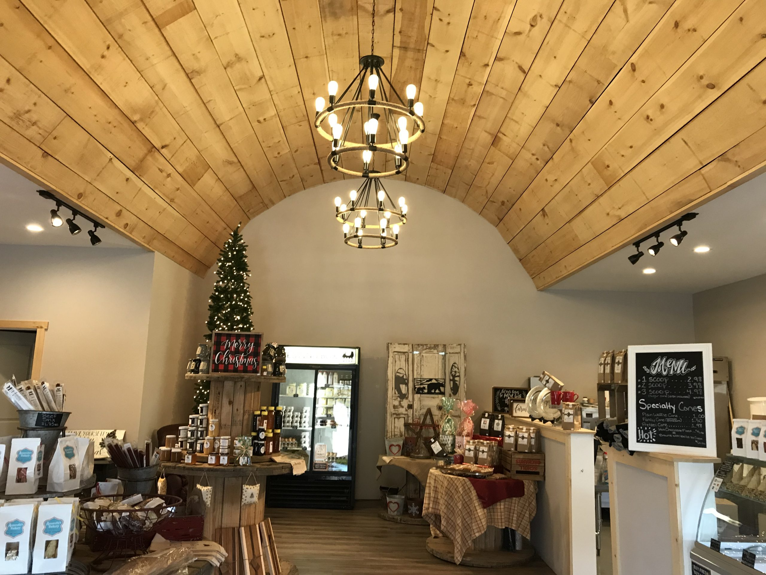 wooden beam ceiling in shop