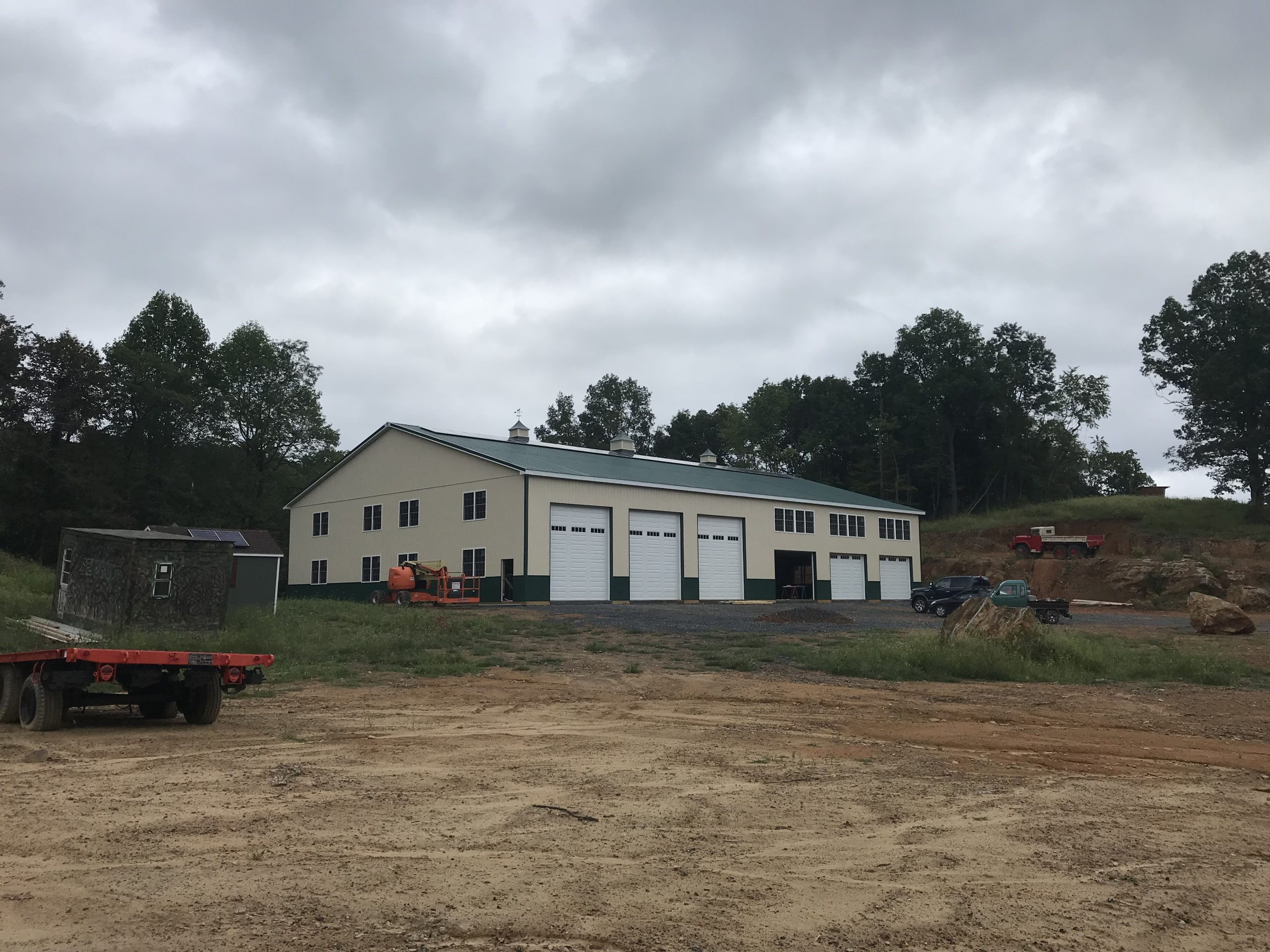 newly constructed agricultural pole barn