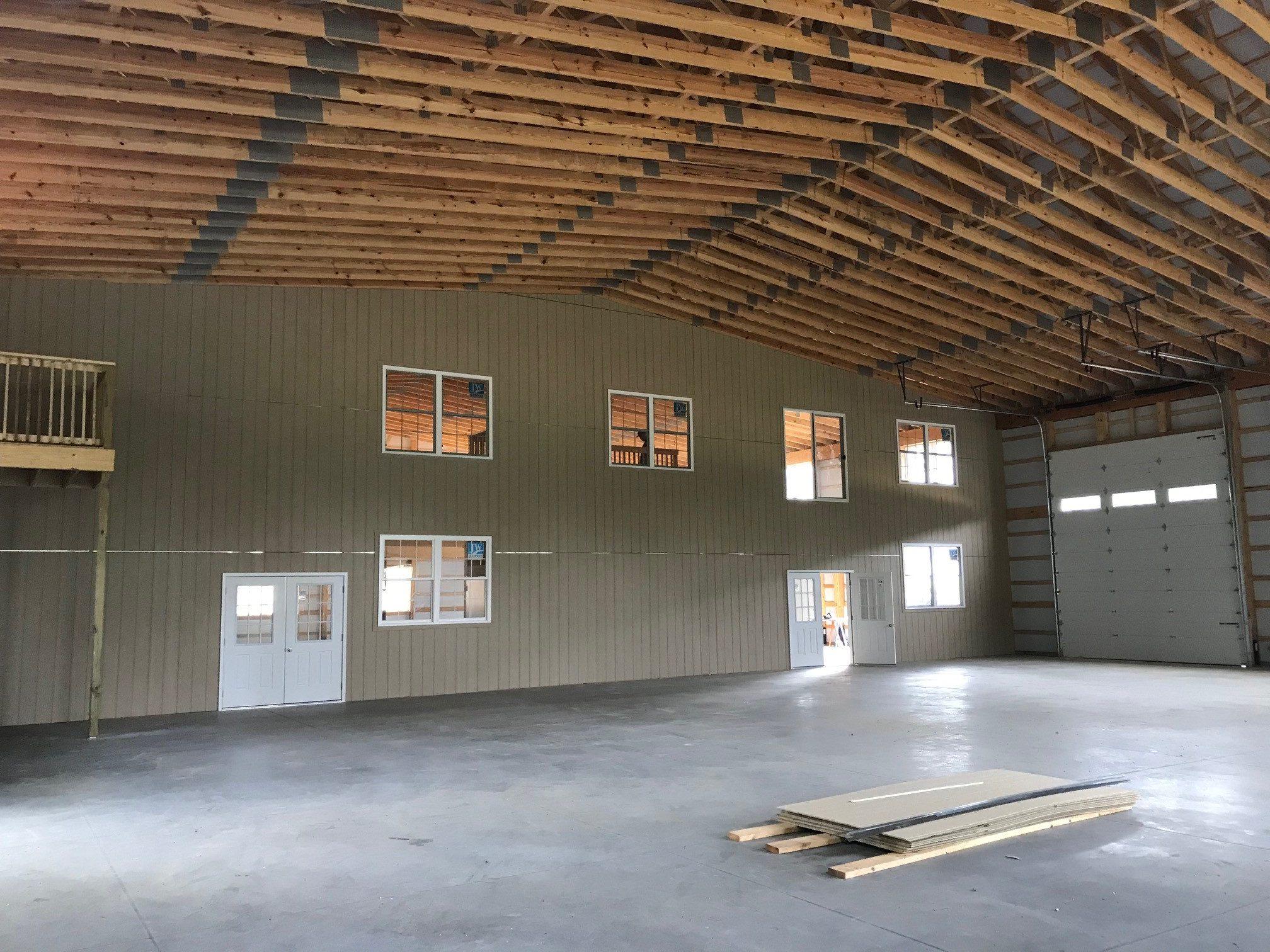 interior of newly construction pole barn