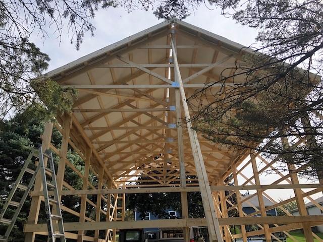 construction on the inside of a pole barn
